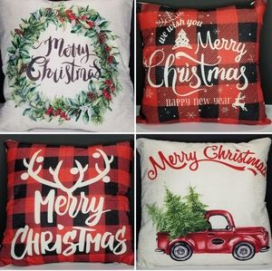 Set of 4 Christmas Holiday Pillow Covers Buffalo Check, Red Truck